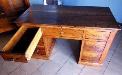 Стол восстановленным старинным грецкий орех семь ящиков с откидным столом
